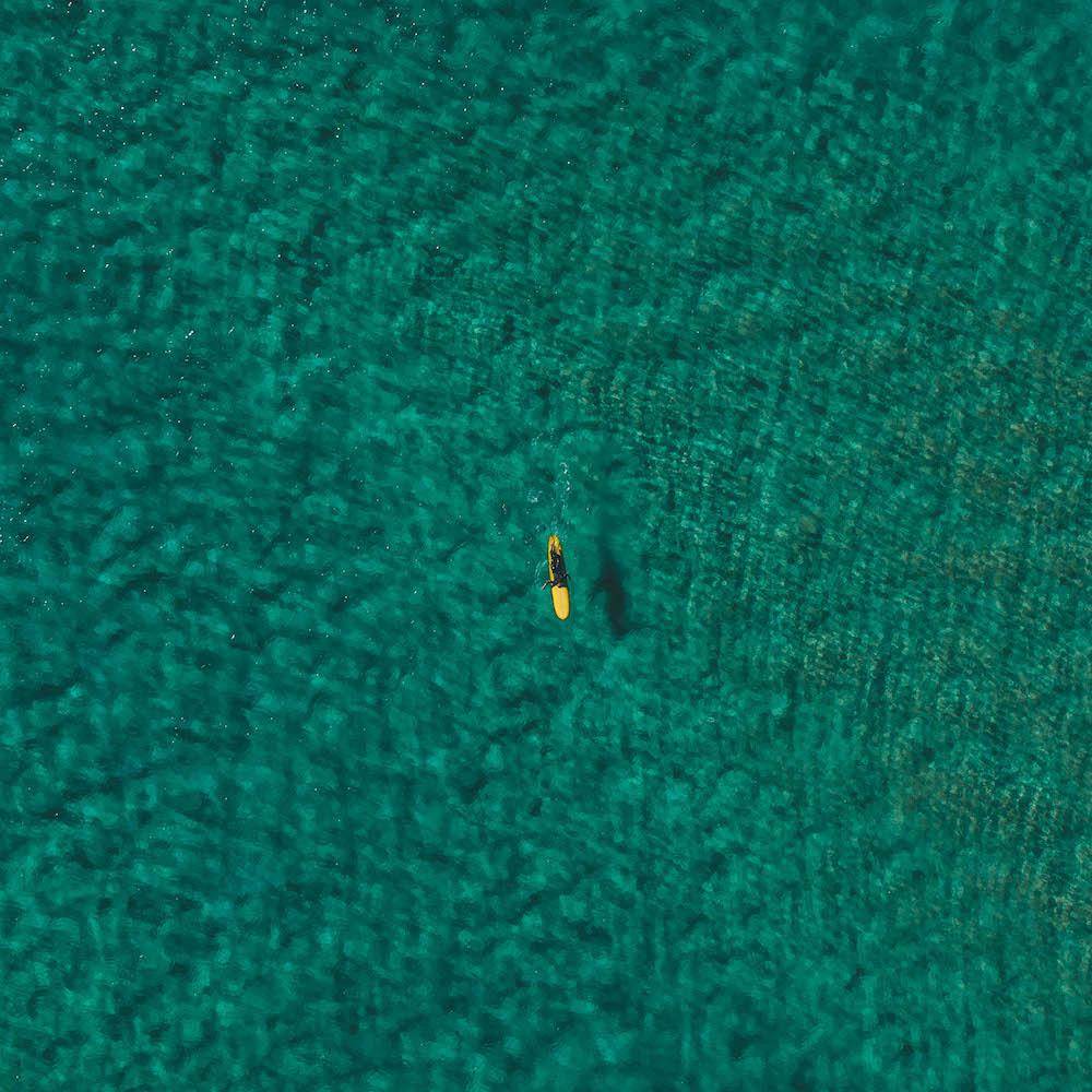 Surfeur sur une planche dans l'ocean